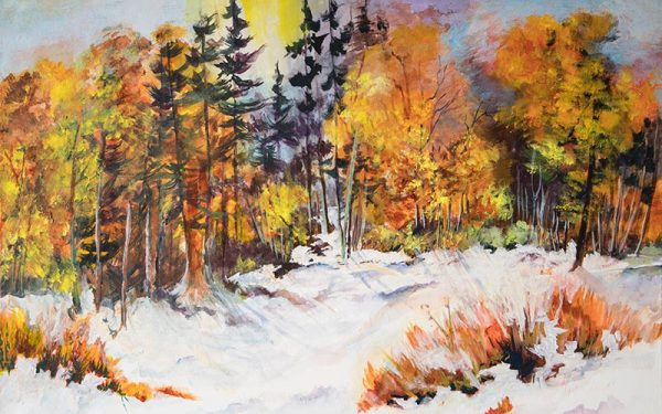 Image: painting of a snowy forest